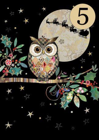 MCC049 Christmas Owl 5-pack bug art greeting card