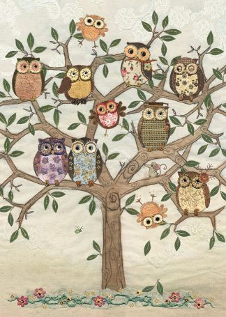 Bug Art a003 Owl Family Tree greetings card