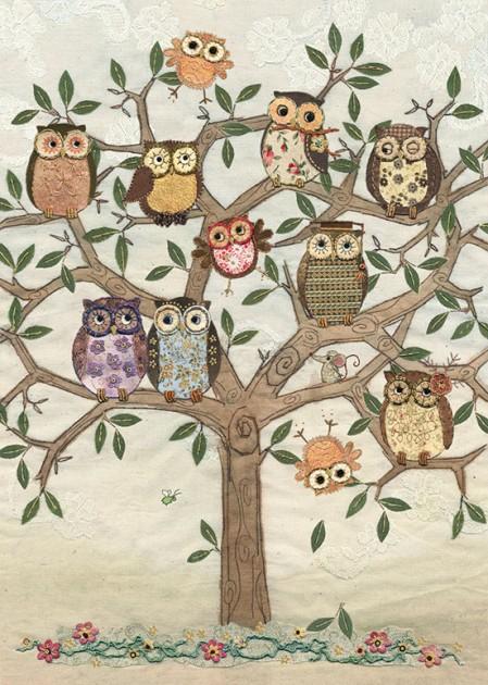 Bug Art a003 Owl Family Tree greetings card