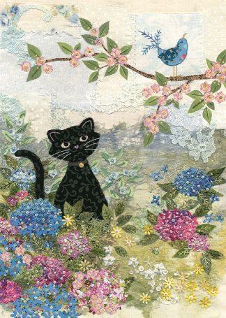 Bug Art a017 Garden Cat greetings card