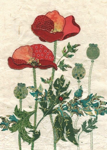 Bug Art a021 Pattern Poppies greetings card