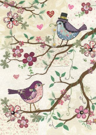 Bug Art a029 Two Birds greetings card