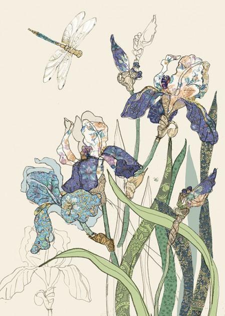 Bug Art B004 Bearded Irises greetings card