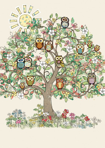 Bug Art B025 Sunny Owl Tree greetings card