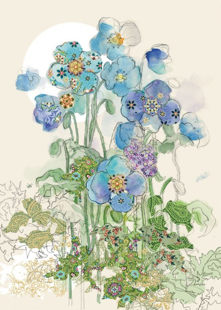 Bug Art B029 Blue Poppies greetings card