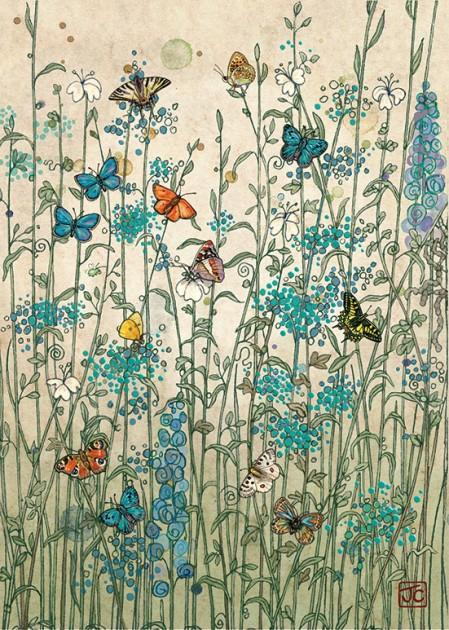 Bug Art D082 Garden Butterflies greetings card