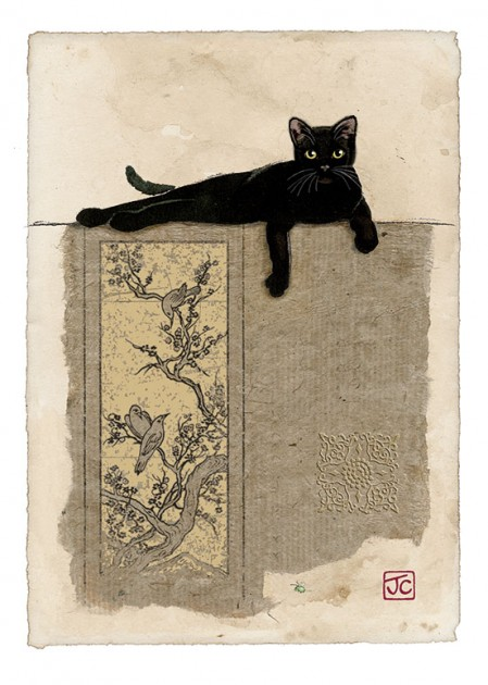 Bug Art D122 Black Cat Resting greetings card