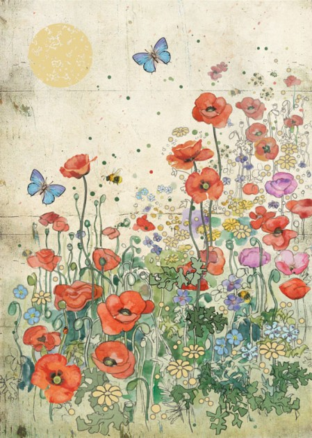 Bug Art D148 Poppy Meadow greetings card