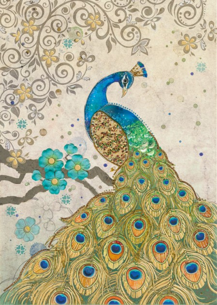 Bug Art D154 Peacock Collage greetings card