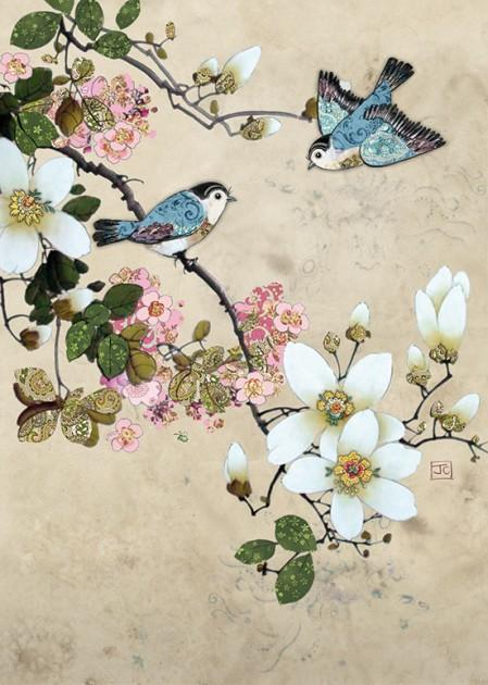 Bug Art D155 Magnolia Birds greetings card