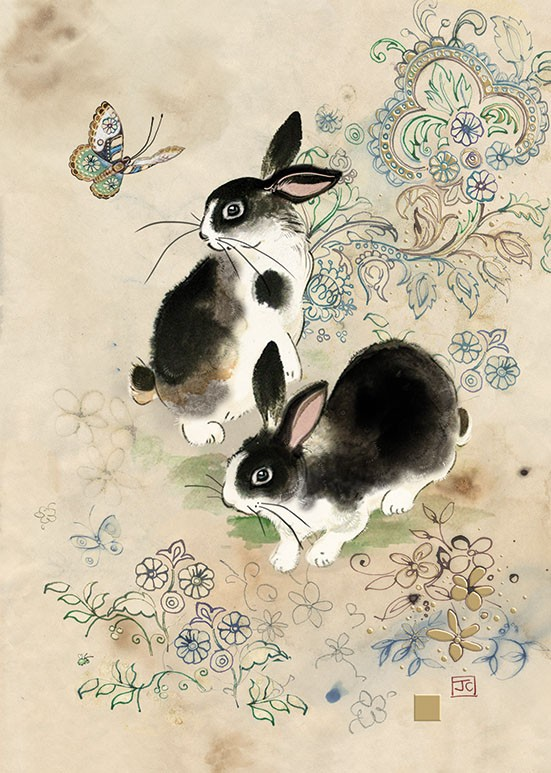 Bug Art D157 Two Rabbits greetings card