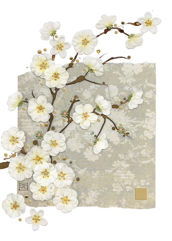 Bug Art D161 White Blossom greetings card