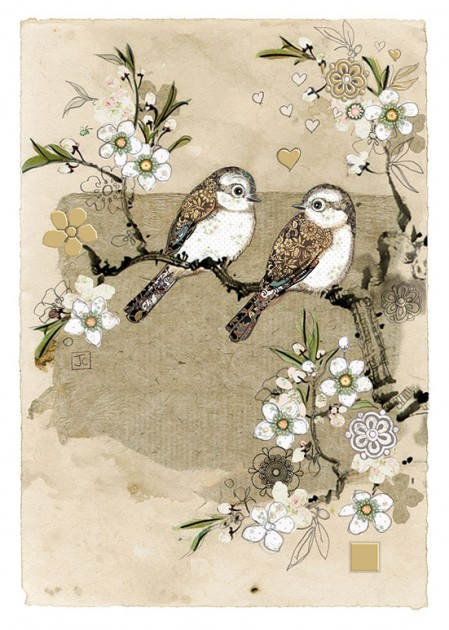 Bug Art D167 Two White Birds greetings card