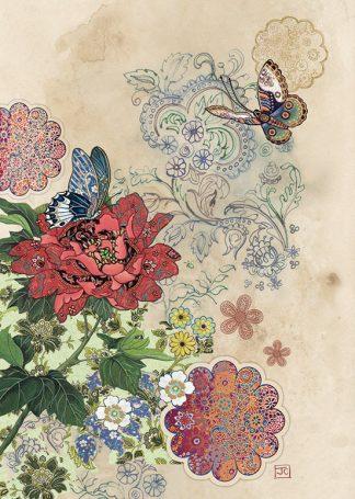Bug Art D168 Red Flower Butterflies greetings card