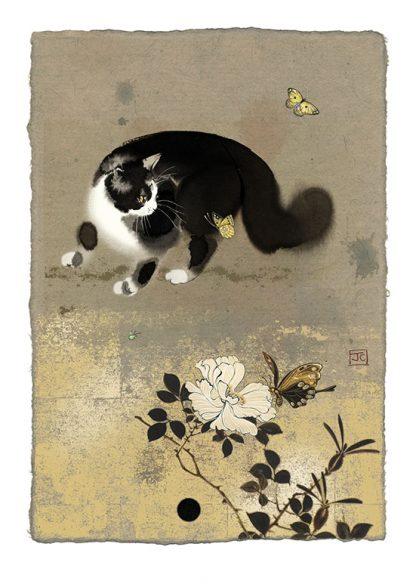 Bug Art D169 Cat & Butterflies greetings card