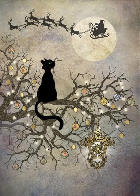 Bug Art dc016 Moon Cat greetings card