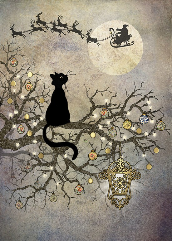 Bug Art dc016 Moon Cat greetings card