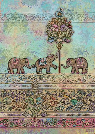 Bug Art E014 Indian Elephants greetings card