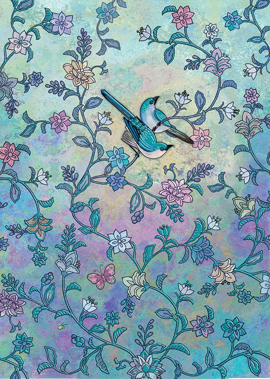 Bug Art E020 Blue Birds greetings card