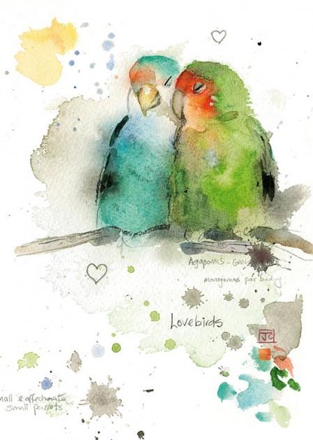 Bug Art F013 Lovebirds greetings card