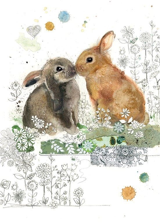 Bug Art F028 Rabbit Kiss greetings card