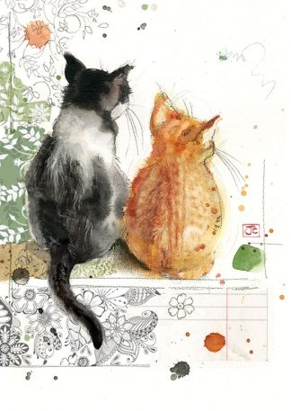 Bug Art F031 Two kittens greetings card