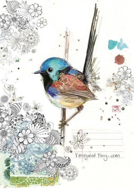 Bug Art F033 Fairy-wren greetings card