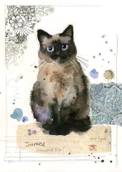 Bug Art F034 Siamese Cat greetings card