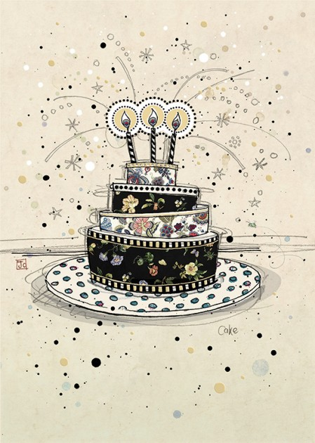 Bug Art H002 Birthday Cake greetings card