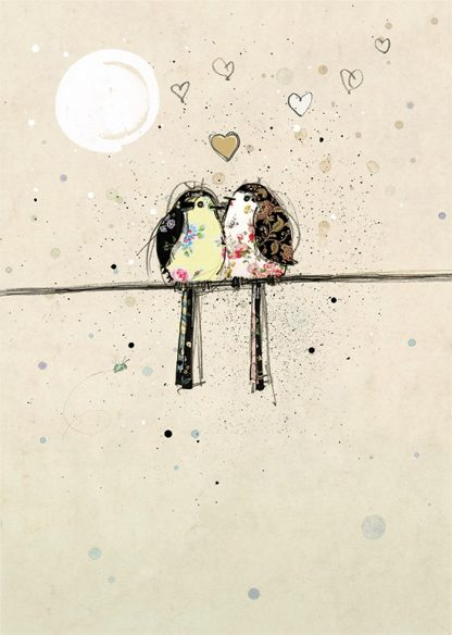 Bug Art H006 Two Lovebirds greetings card