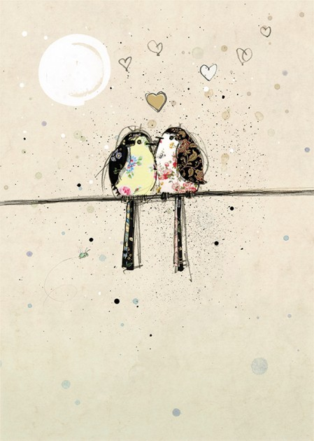 Bug Art H006 Two Lovebirds greetings card
