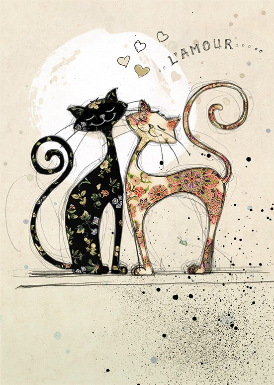 Bug Art H007 Two Lovecats greetings card