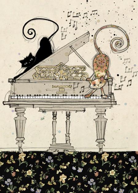 Bug Art H011 Piano Cats greetings card