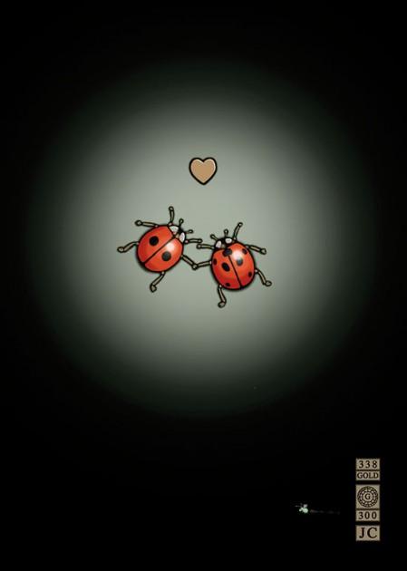 Bug Art m070 ladybirds in love greetings card