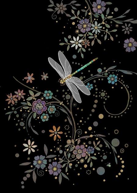 Bug Art m082 dragonfly in a swirl greetings card