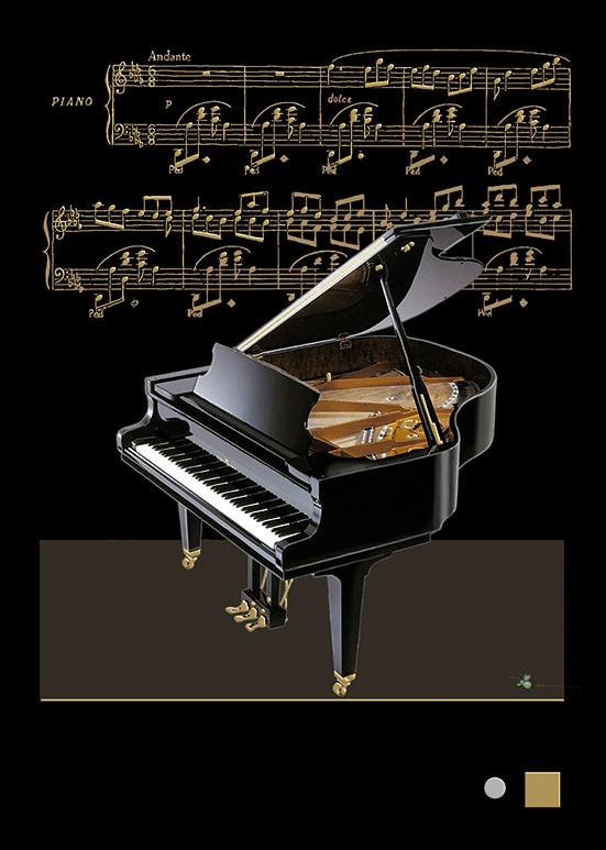 Bug Art m089 baby grand piano greetings card
