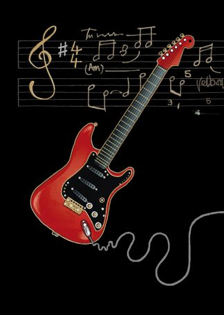 Bug Art m090 red electric guitar greetings card