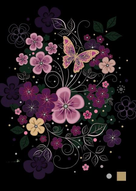 Bug Art m105 pink flowers greetings card
