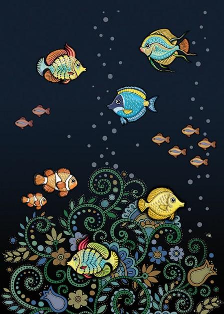 Bug Art m107 tropical fish greetings card