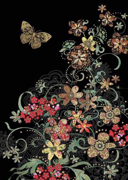 Bug Art m116 red flowers greetings card