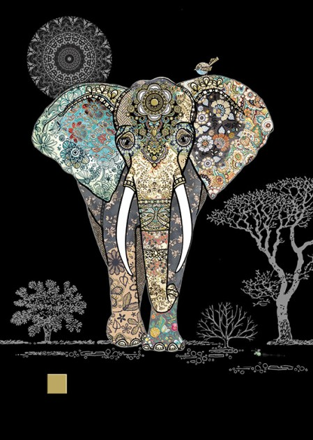Bug Art m129 decorative elephant greetings card