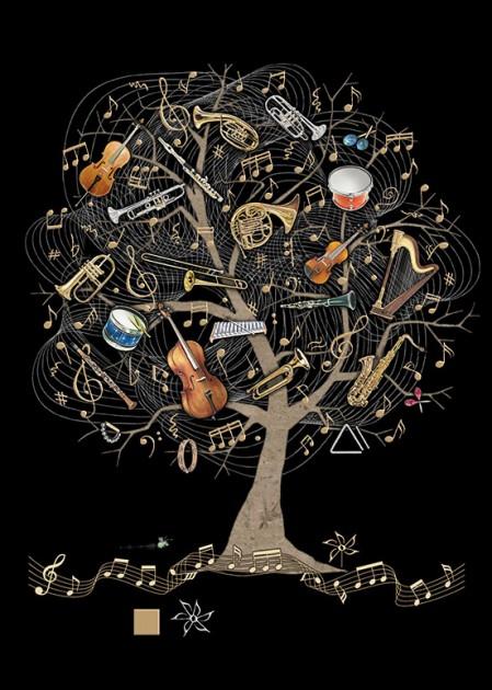 Bug Art m138 Music Tree greetings card