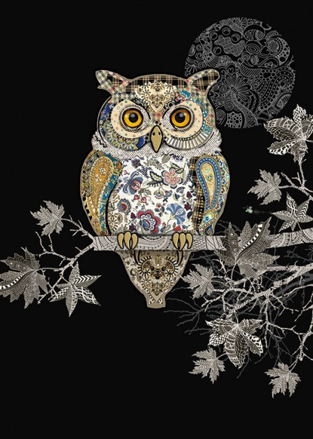 Bug Art m139 decorative owl greetings card
