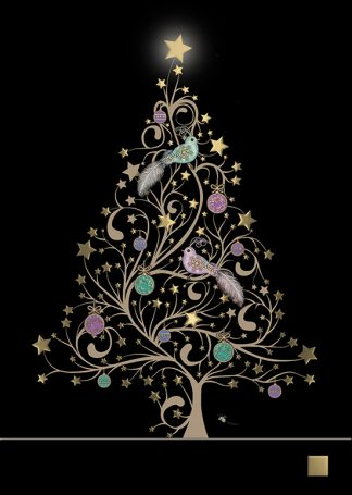 Bug Art MC027 Star Tree & Birds greetings card